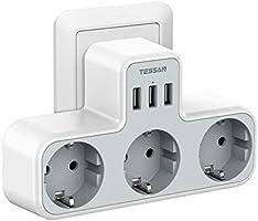 TESSAN Multiprise Murale, Multiprise Prise USB 3 Prises et 3 Ports USB (3A), Chargeur USB Multiple 6 en 1 (3600W), Prise...