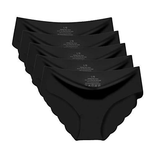 Goldenlight 5 Pack Damen Slips Nahtlos Unterwäsche Bikinis Taillenslips Seamless Unsichtbare Dehnbare Bequeme Panties Hipsters (Tag L - EU S, Schwarz)