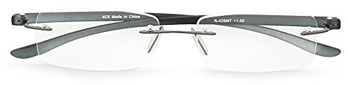 エニックス 老眼鏡 メンズ +3.0 度数 縁なし 弾性テンプル クリアスモーク R-425MT+3.00
