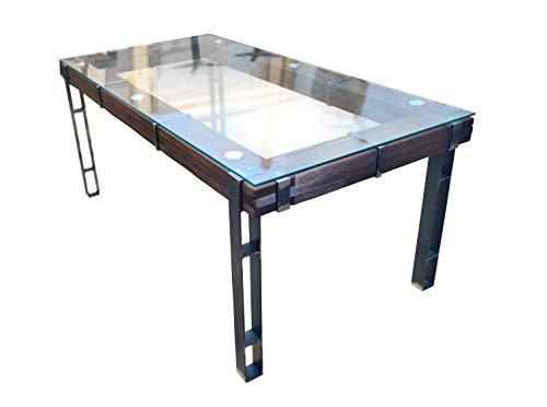 CHYRKA® eetkamertafel eettafel LEMBERG Loft Vintage bar industrieel design handgemaakt hout glas metaal Eetkamertafel. 180 x 90 cm
