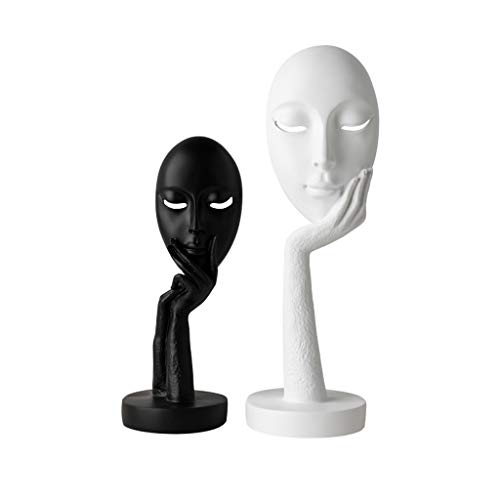 Ornamento de Escritorio Estatuas Esculturas cara Estatuilla juego de 2, resina adornos de escultura for la decoración del hogar acentos Salón Dormitorio Oficina bookself mesa decoración del hogar (Neg