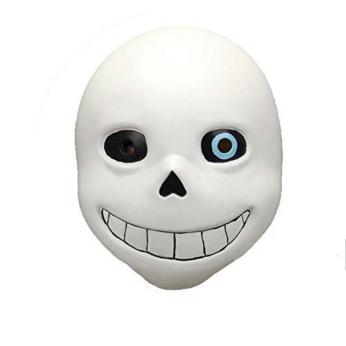RenKeAi Erwachsene Kinder Undertale Game Sans Mask Karneval & Halloween Cosplay Kostüm Maske Schädel Helm mit Blue Eye - Latex, Unisex One Size