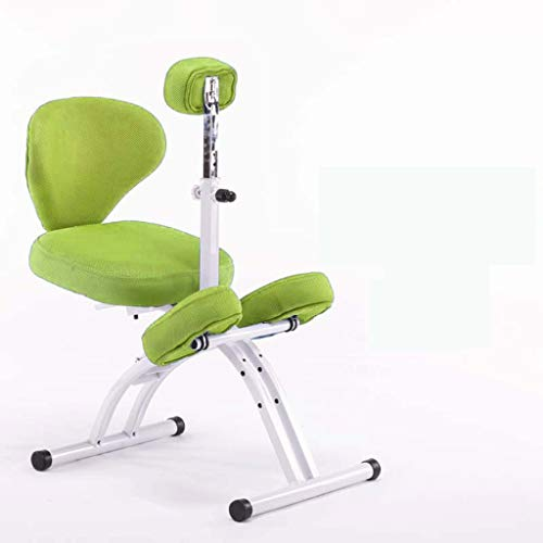 LIUBINGER Drehbarer Bürostuhl Kinder Study Stuhl, Anti-bucklige Korrektur Sitzhaltung Stuhl Kniend, Abhebbarer Student Schriftlich Stuhl Mit Rückenlehne (Color : Green)
