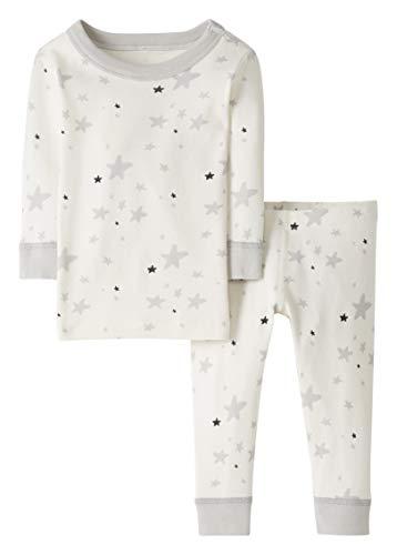 Moon and Back by Hanna Andersson Pyjama 2 pièces motifs étoilés, à manches longues, en coton bio pour tout-petits, bébés, Étoile grise, 12-18 mois (72-77 CM)