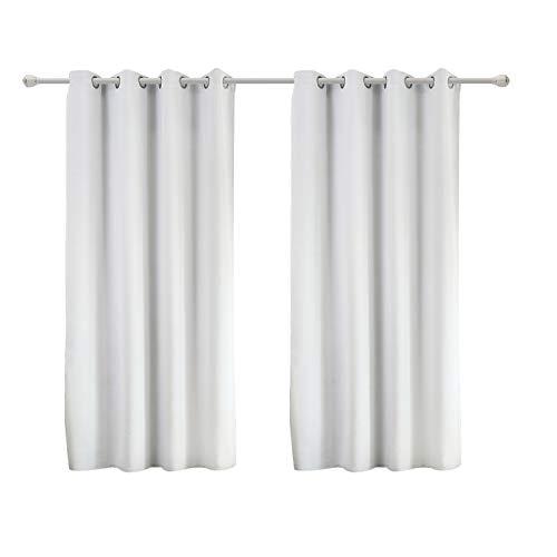 WOLTU #488-2, 2er Set Gardinen Vorhang Blickdicht mit Ösen, leichte & weiche Verdunklungsvorhänge für Wohnzimmer Schlafzimmer Tür, 135x175 cm, Weiß (Hinter: Grau)