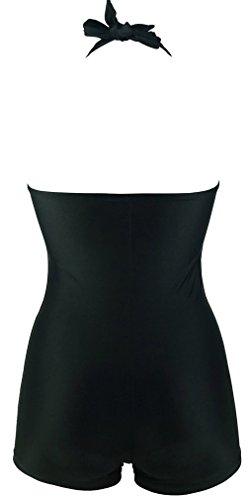 PANOZON Ladies Boyleg Maillot Swimwear One Piece Tridimensional Cutting Swimsuit Halter Bikini Beachwear M-4XL(M,Black)
