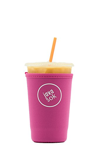 Java Sok Reusable Iced Coffee Cup Insulator Sleeve for Cold Beverages and Neoprene Holder for Starbucks Coffee, McDonalds, Dunkin Donuts, More (Bright Pink, 22-24oz Med)