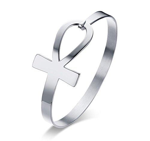 VNOX Seitlich aus Edelstahl Lebensader ägyptischen Ankh Armband Armreif für Frauen Silber,59mm Durchmesser