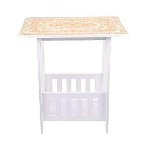 VOSAREA Tavolino con cassetto in legno, per tè, caffè, moderno e decorativo, per soggiorno, camera da letto, balcone, (bianco)