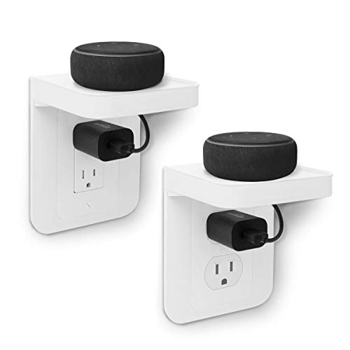 ALLICAVER Outlet Shelf, Power Perch with Built-In Cable Management, A Space Saving Solution for Google Home, Homepod mini, Smart Speakers, Cellphones, Electric Toothbrush and More (All model-2 Pack)
