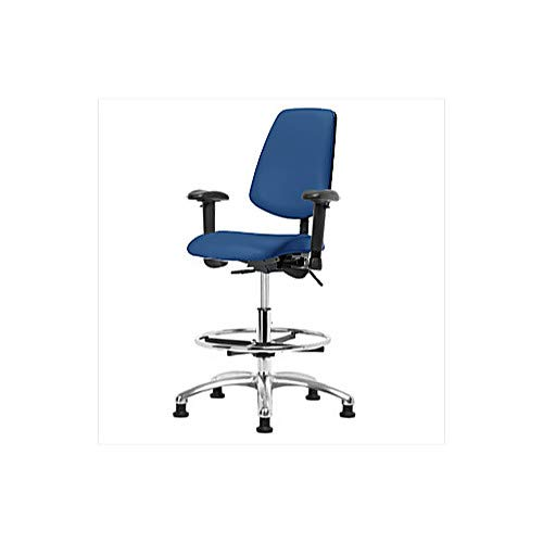 Thomas 1163W29 ESD/Cleanroom Vinyl Medium Bench Height Chair with Medium Back, Chrome Base, Without Tilt, Adjustable Arms, Chrome Foot Ring, ESD Casters, Blue