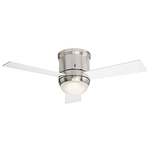 NOMA Ceiling Fan with Light | Dimmable Ceiling Fan with Frosted Glass Dome Light and Remote | Silver, 38-Inch