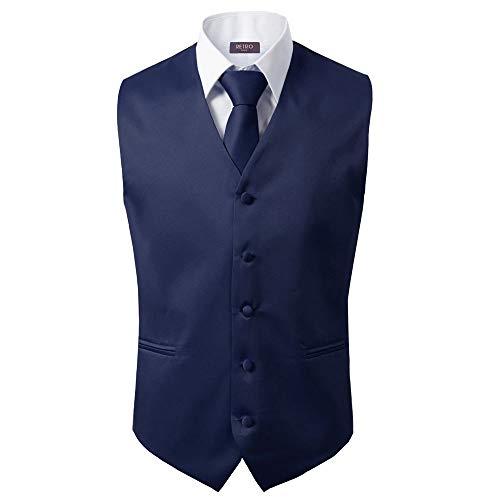 Bravo Men's Formal Slim Fit 3 Pcs Vest + Necktie + Hankie 5 Button Premium Classic Skinny Fashion Casual Dress Suit Tuxedo Graduation Wedding Business Waistcoat Hanky Coat (X-Large, Navy)