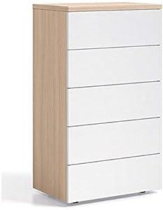 Habitdesign 017821W - Cómoda chifonier con 5 cajones, color Nature y Blanco Brillo, dimensiones 61cm (ancho) x 110cm (alto) x 40cm (fondo)