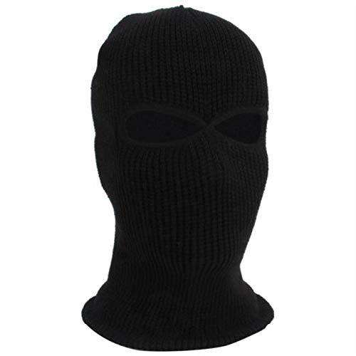 QFYD FDEYL warm atmungsaktiv Gesichtsmaske,Wind- und Skitaktik-Black_2 Löcher,Sturmhaube schwarz Baumwolle