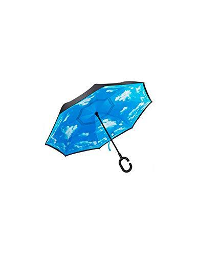 Paraguas a Prueba de Viento y Protector Solar a Prueba de Lluvia Paraguas Reversible Paraguas con Parachoques invertido con Mango en Forma de C (Cielo Azul y Nubes Blancas)