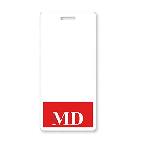 MD Badge Buddy - Heavy Duty Vertical Badge Buddies for Doctors of Medicine - Spill & Tear Proof Cards - 2 Sided USA Printed Quick Role Identifier ID Tag Backer by Specialist ID