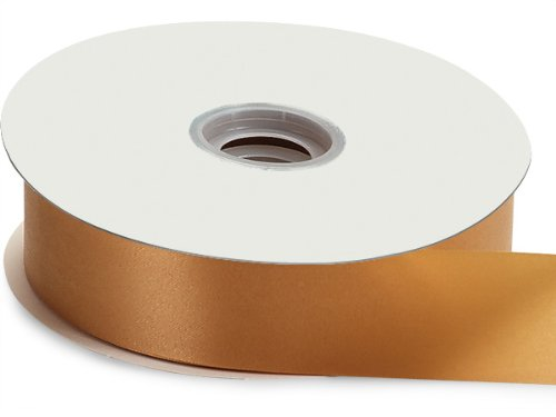 Pack Of 1, Solid Gold Flora Satin Ribbon 1-7/16' x 100 yds Made In USA 100% Polypropylene, waterproof & weather resistant