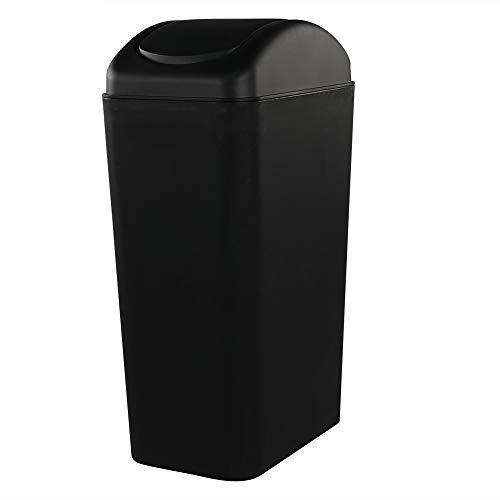 Rinboat 14 l Schwarz Kunststoff Mülleimer Abfallsammler Müllbehälter Schwingdeckel mit Deckel, 1 Packung