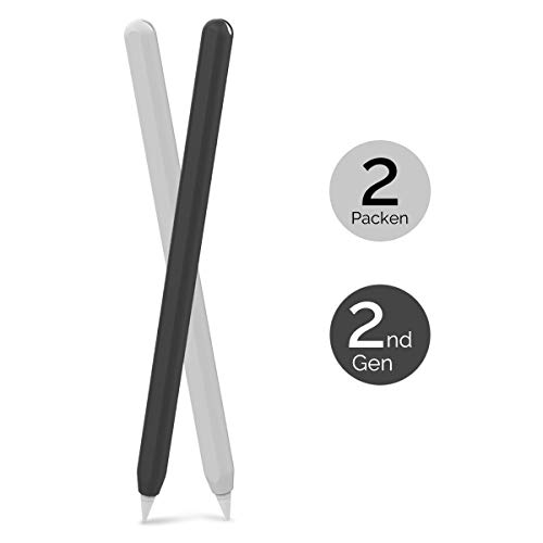 AHASTYLE Apple Pencil Hülle Silikon Apple Pencil Case Ultra Dünn Apple Pencil Abdeckung Kompatibel mit Apple Pencil 2. Generation (2 Pack, Schwarz & Weiß)