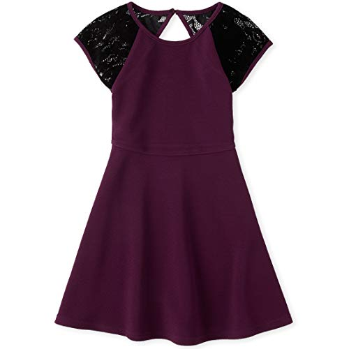 The Children's Place Girls' Big Pleated Dress, Tart Raisin, S (5/6)