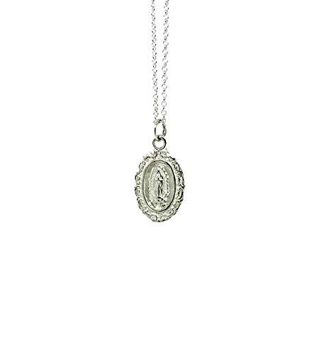 Collar Medalla virgen de Guadalupe de plata 925 con cadena ajustable, para mujer o niña, caja y bolsa de regalo incluido