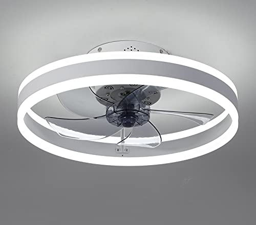 Ceiling Fan with Lights,19.7''LED Remote Control 3-Color Lighting 3 Wind speeds, Invisible Blades Flush Mount Ceiling Light, Enclosed Shell Low Profile Fan,Sand White
