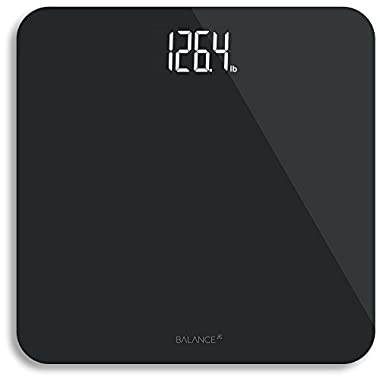 Digital Body Weight Bathroom Scale from Greater Goods, Black Glass with Backlit Shine Through Display and Weight Measurements (Black)