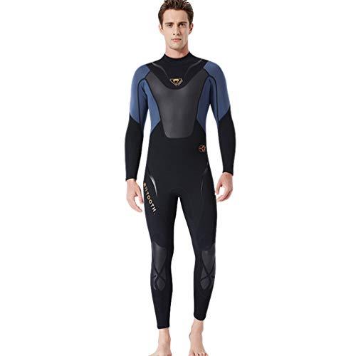 YuanDiann Uomo 3 millimetri di neoprene Muta da sub Inverno Caldo elasticita' Manica Lunga Immersione Subacquea Tuta Sport Snorkeling Abbigliamento XL Nero Grigio