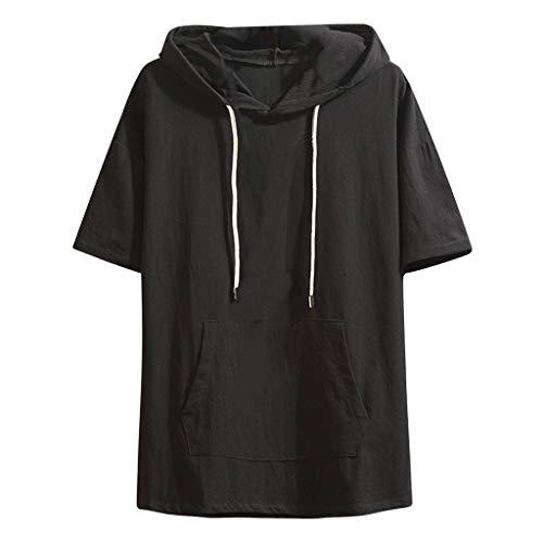 Xmiral T-Shirt Herren Hoodie Halber Ärmel Gedruckte Patchwork Gefälschter Zweiteiliger Tops Mit Kapuze Slim Fit Poloshirt Hemde Lose Bluse Polohemd(c Schwarz,L)