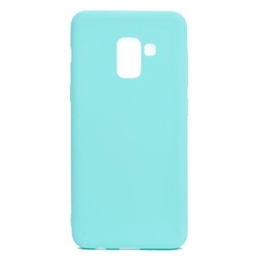 cuzz Custodia Samsung Galaxy A8 Plus 2018+{Film di Vetro temperato}Silicone TPU Cover Morbida Protettiva Custodia Ultra Sottile Leggero Cover-Blu Chiaro