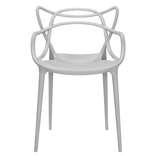2xhome - Dining Room Chair - Grey - Modern Contemporary Designer Designed Popular Home Office Work Indoor Outdoor Armchair Living Family Room Kitchen
