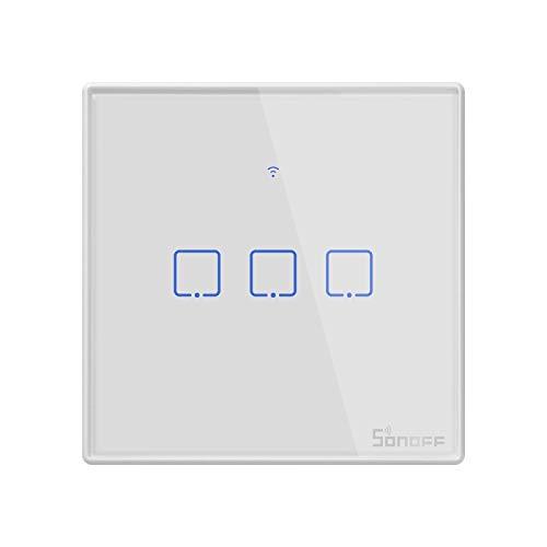 Yangeryang El Panel de Cristal Templado conmutador Smart Wall Inicio Luz Touch Switch, Compatible con Alexa y Google Inicio, CA 100V-240V, Enchufe de Reino Unido