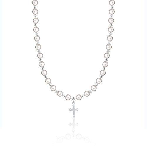Christening Sterling Silver Child Necklace with Cross Charm and White Swarovski Simulated Pearls and Crystals (NCRSE)