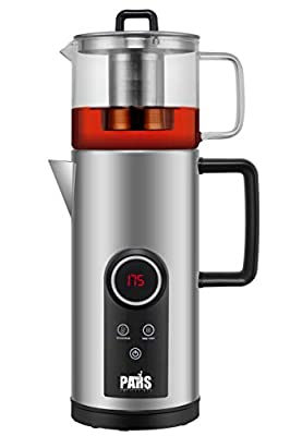 New Tea/Coffee maker, Electric Double stainless steel cordless kettle set with digital display and glass teapot, S/S infuser, adjustable keep warm function, overheat and boil dry protection