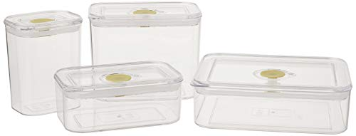 Synziar Storage Lids 4 Pieces Air-Tight Food Containers Set BPA Free, 1 White