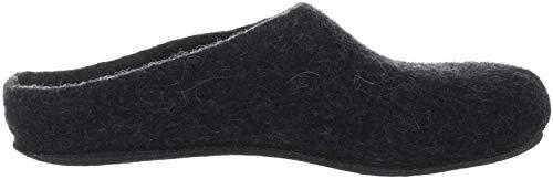 MagicFelt Hausschuh AN 709 aus Reiner Schurwolle - Damen und Herren Pantoffeln - rutschfest und anatomisch geformt in Schwarz (Charcoal 4826), 39 EU (6 Erwachsene UK)