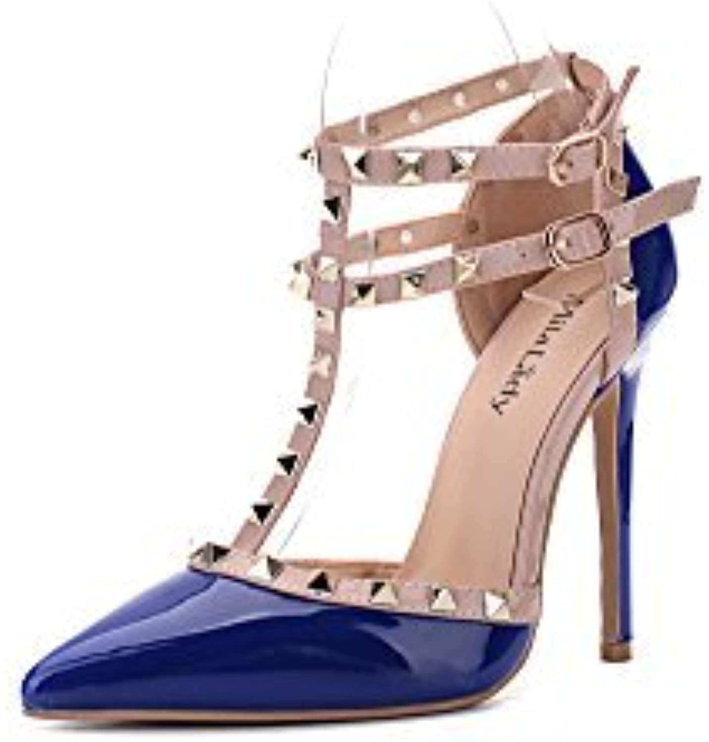 Mila Lady (ETHER08 Two -Tone Patent Strappy Ankle with Stud Elegance Platform Lady Heeled Pumps shoes   R.blueE10