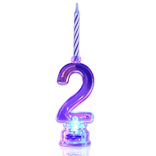 Novelty Place Multicolor Flashing Number Candle Set, Color Changing LED Birthday Cake Topper with 4 Wax Candles (Number 2)