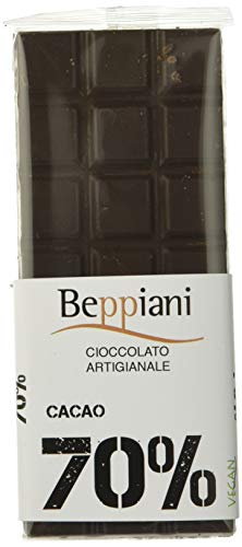 Beppiani - Set 5 tabletas 70% chocolate oscuro oscuro - 350 g - Chocolate hecho a mano - MADE IN ITALY