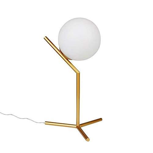 Dellemade Lámpara de mesa moderna con bola de cristal, color dorado
