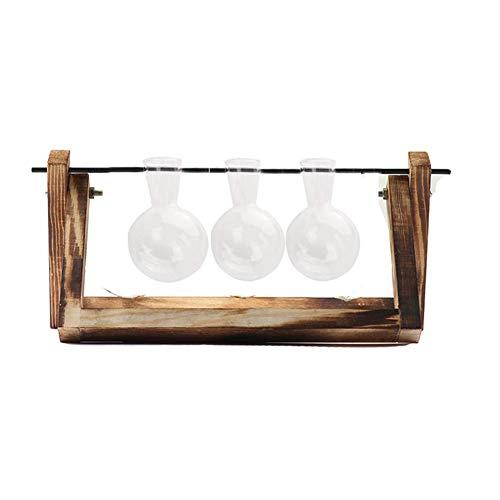 Moonvvin Vintage Holz-Blume aus Glas Vase mit-Deko, Glas-Übertopf Leuchtmittel für Vasen, von Hydrokulturen, Heim-Dekoration, Holz, Retro Wood+3 Bulbs, 6.3X11.5X4.9''''