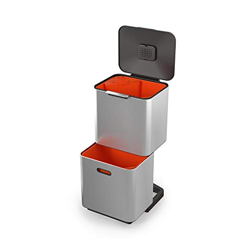 Joseph Joseph IntelligentWaste Totem Max 60 Mülltrennsystem - Abfallbehälter mit separater Recycling-Einheit, inkl. Biomüll-Caddy, 60 Liter - Edelstahl