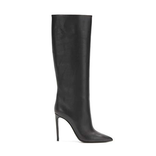 Lange laarzen, dames enkellaarsjes met naaldhak en hoge hak PU knielaarzen, zwart,Black,45