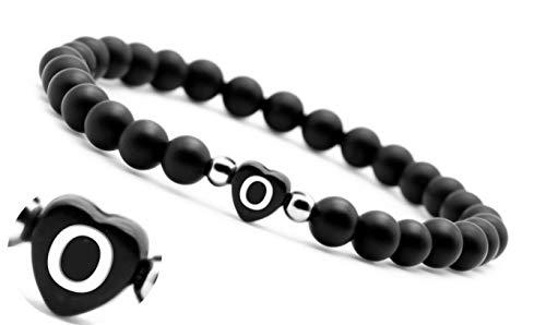 armband mit buchstaben armband schwarz mit gravur Pärchen Perlenarmband couple Edelsteine Onyx (O)