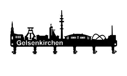 steelprint.de Schlüsselbrett/Hakenleiste * Skyline Gelsenkirchen* - Ruhrpott - NRW - Schlüsselboard - 6 Haken