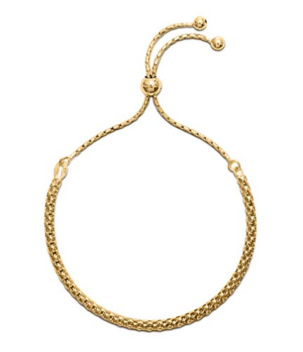 Womens 9ct Gold plated 925 Sterling Silver Fancy Link Friendship Bracelet. Fashionable Ladies Slider Bracelet, adjustable in size. Gift boxed, the perfect present she will love.