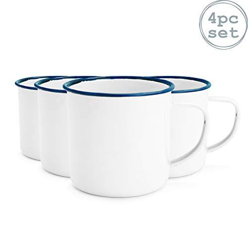 Espresso-/Kaffeebecher mit Emaille-Beschichtung - Weiß mit blauem Rand - 150 ml - 4er-Set