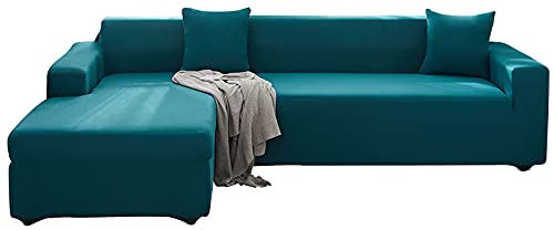 KIKIGO Sofa üBerwüRfe L Form,Sofa Elastische Stretch Sofabezug Sofa üBerzug,Light Green_l_Style-3+4_Seater