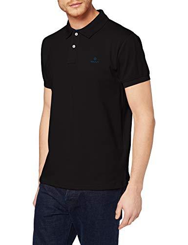 GANT Contrast Collar Pique SS Rugger Polo, Noir (Black 5), L Homme